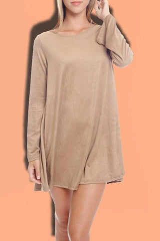 Bell Sleeve Faux Suede Dress- Nude