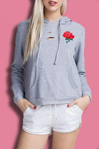 Distressed Embroidered Drawstring Hoodie