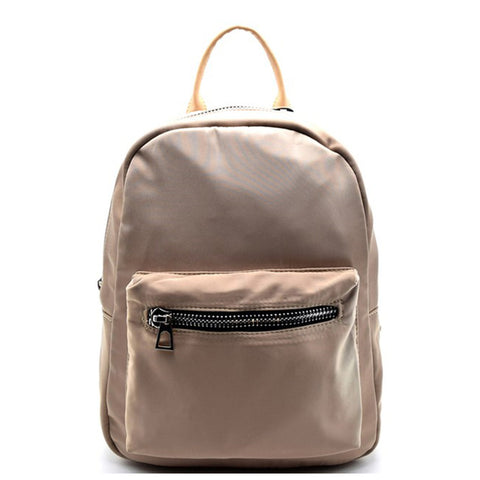 Leather Backpack- Nude