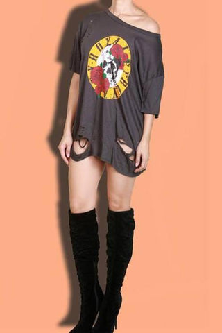 Distressed Graphic T-Shirt Dress- Gray