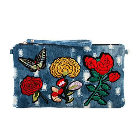 Denim Embroidered Clutch with Chain- Dark Blue