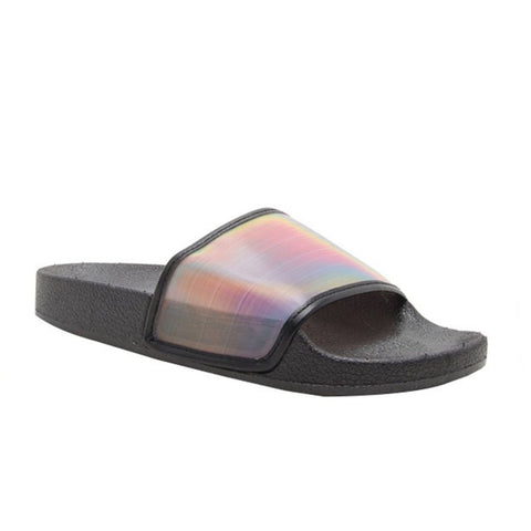 Basic Sheer Slippers- Black Rainbow