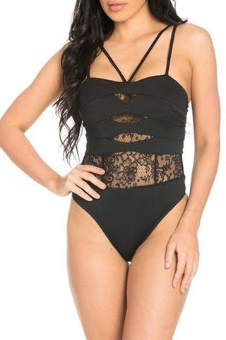Lace Cutout Bodysuit- Black