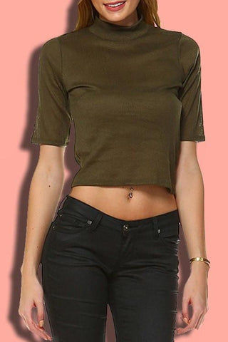Ribbed Turtleneck Top- Olive
