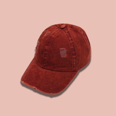 Distressed Baseball Cap- Rust