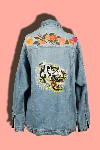 Roaring Lion Embroidered Denim Jacket