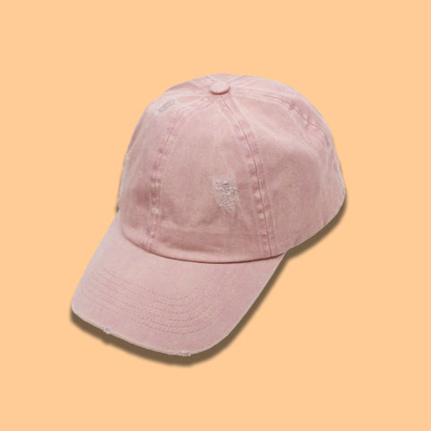 Distressed Baseball Cap- Pink