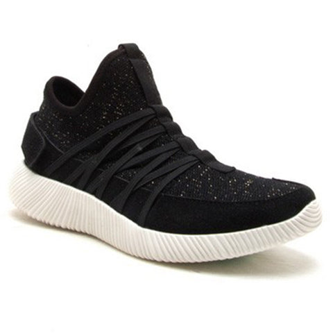 Black Knit Sneakers- Black