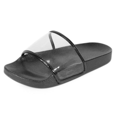 Clear Slippers- Black - newdwear