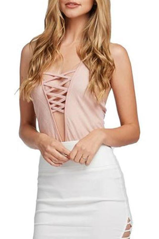 Lace Up Bodysuit- Blush