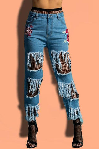 Destroyed Embroidered Skinny Jeans
