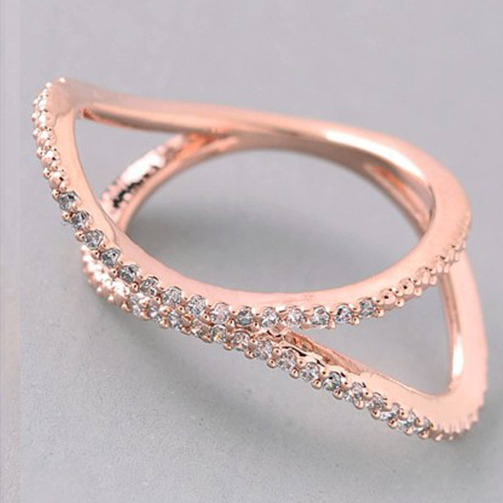 Criss Cross Rhinestone Ring- Rose Gold - newdwear