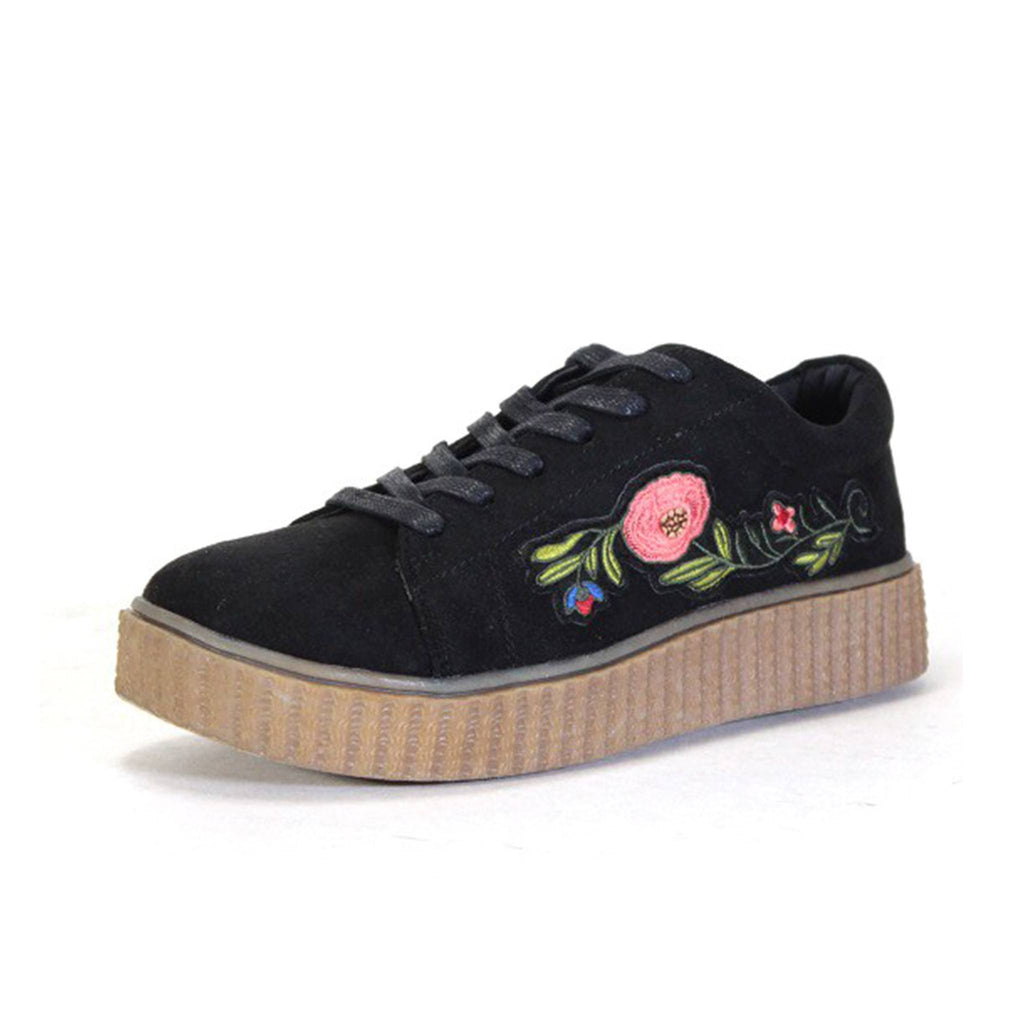 Embroidered Flower Sneakers - newdwear