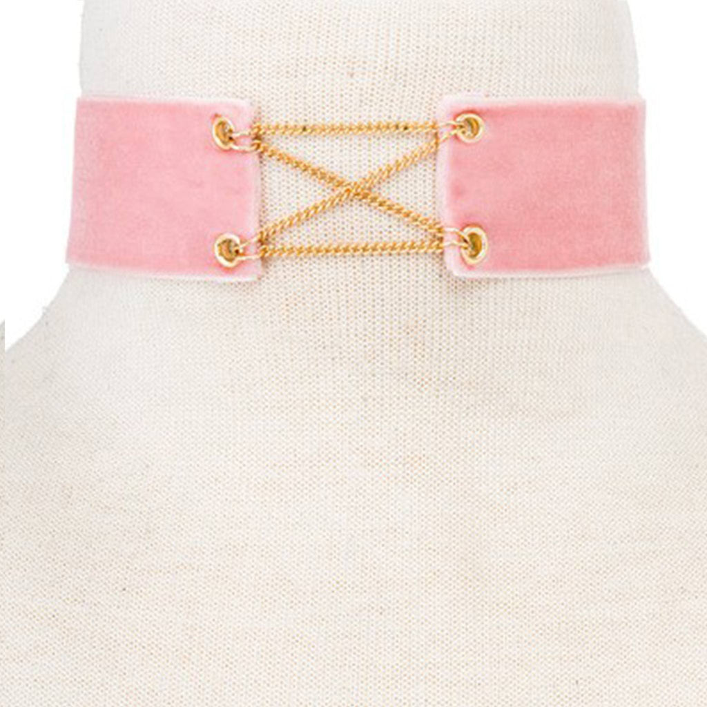 Cross-Link Fabric Choker- Pink & Gold - newdwear