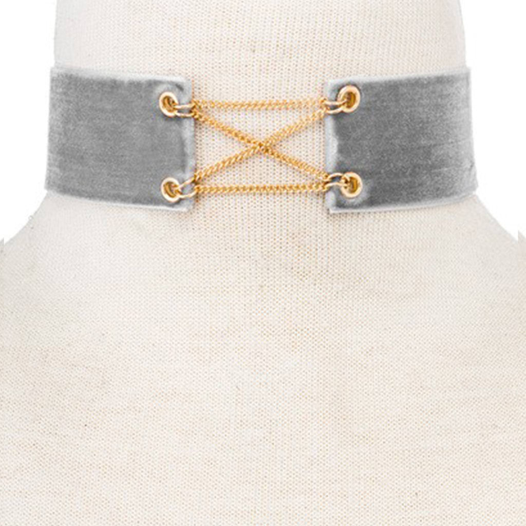 Cross-Link Fabric Choker- Gray & Gold - newdwear