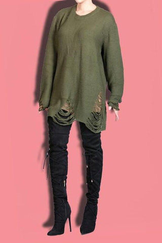 Distressed Sweater Dress- Olive