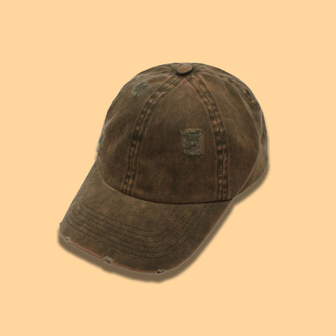 Distressed Baseball Cap- Brown