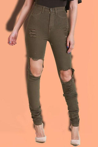 Cut Out Skinny Pants- Olive - newdwear