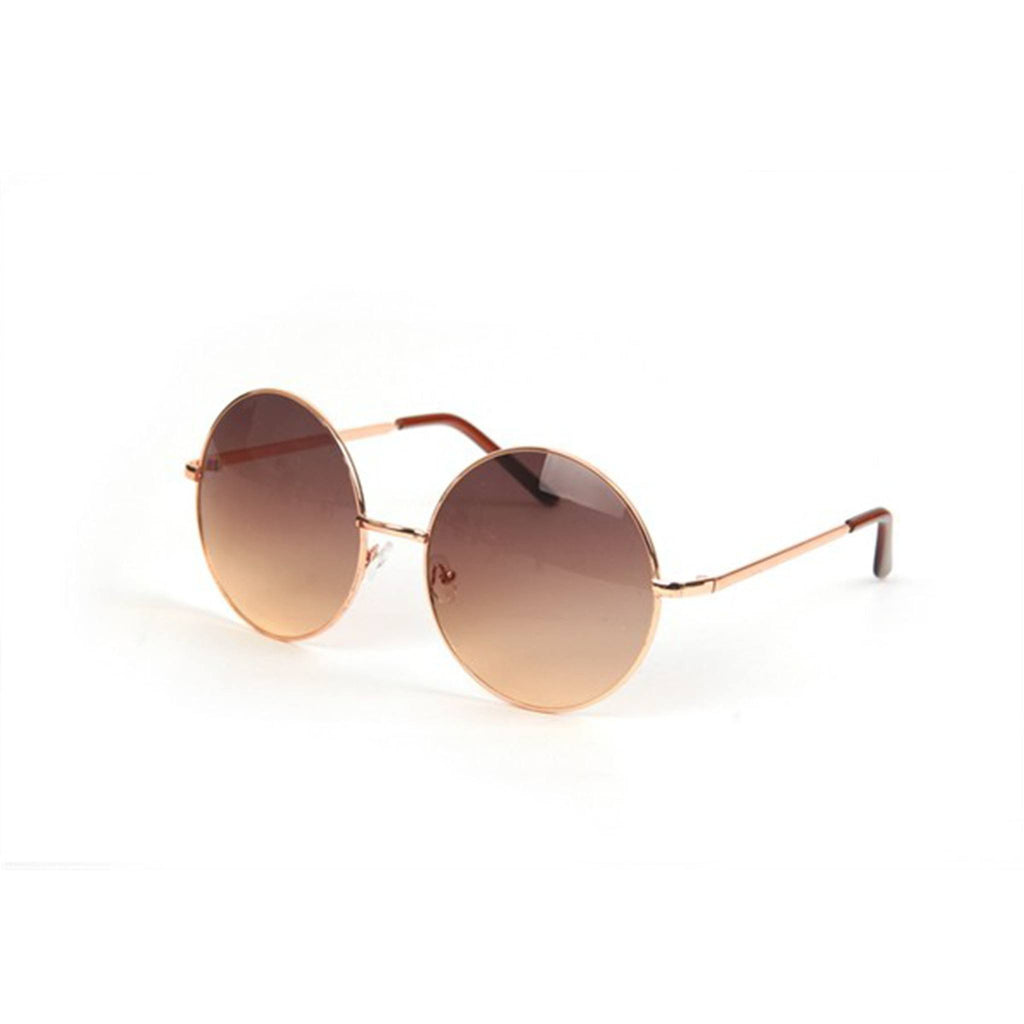 Round Vintage Sunglasses- Brown - newdwear