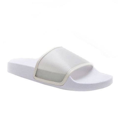 Basic Sheer Slippers- White - newdwear
