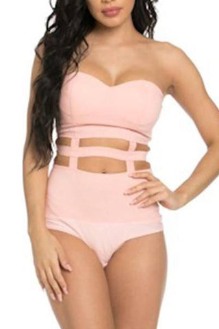 Strapless Caged Bodysuit- Pink