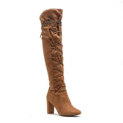 Faux Suede Lace Up Boots- Camel