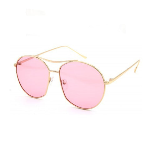 Metal Aviator Sunglasses- Pink - newdwear