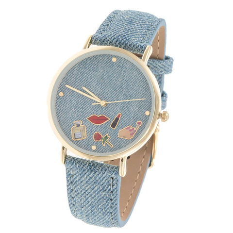Cosmetic Denim Watch- Light Blue