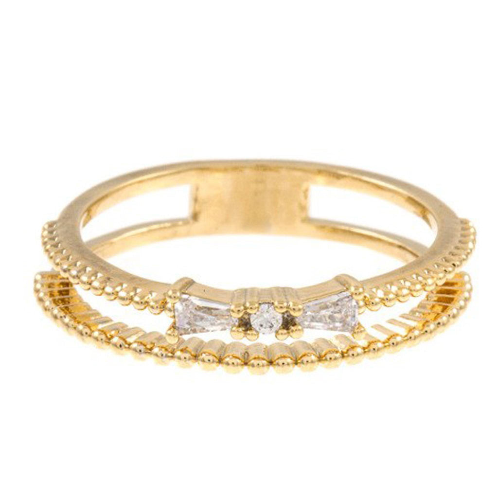 Bow Double Ring- Gold - newdwear