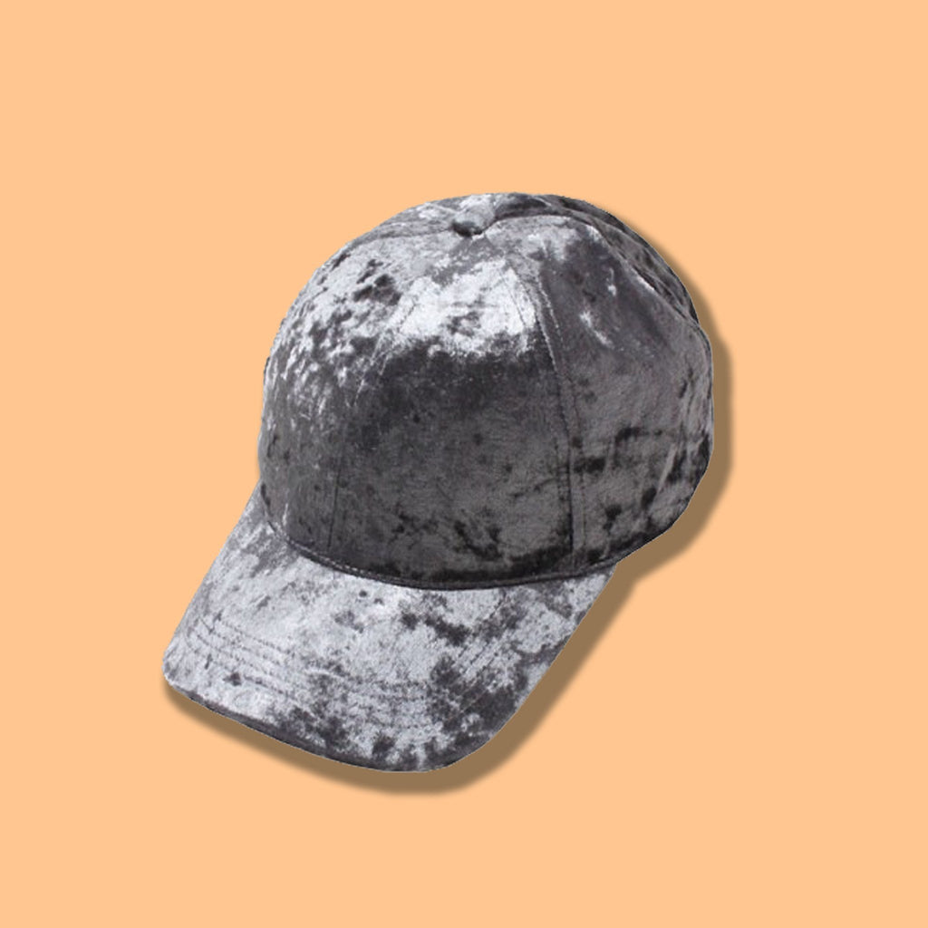 Crushed Velvet Cap- Gray - newdwear