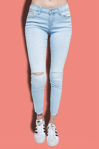 Cut Out Washed Jeans - newdwear
