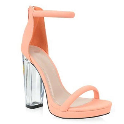 Suede Clear Heel Sandals- Peach