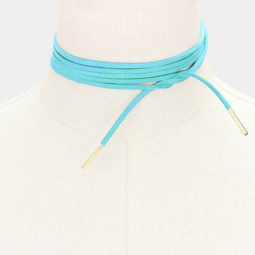 Suede Wrap Around Choker- Blue - newdwear