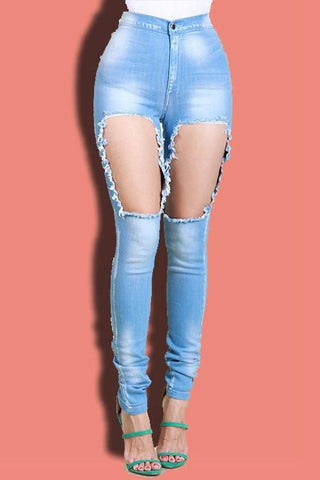 Washed Cut Out Skinny Jeans - newdwear