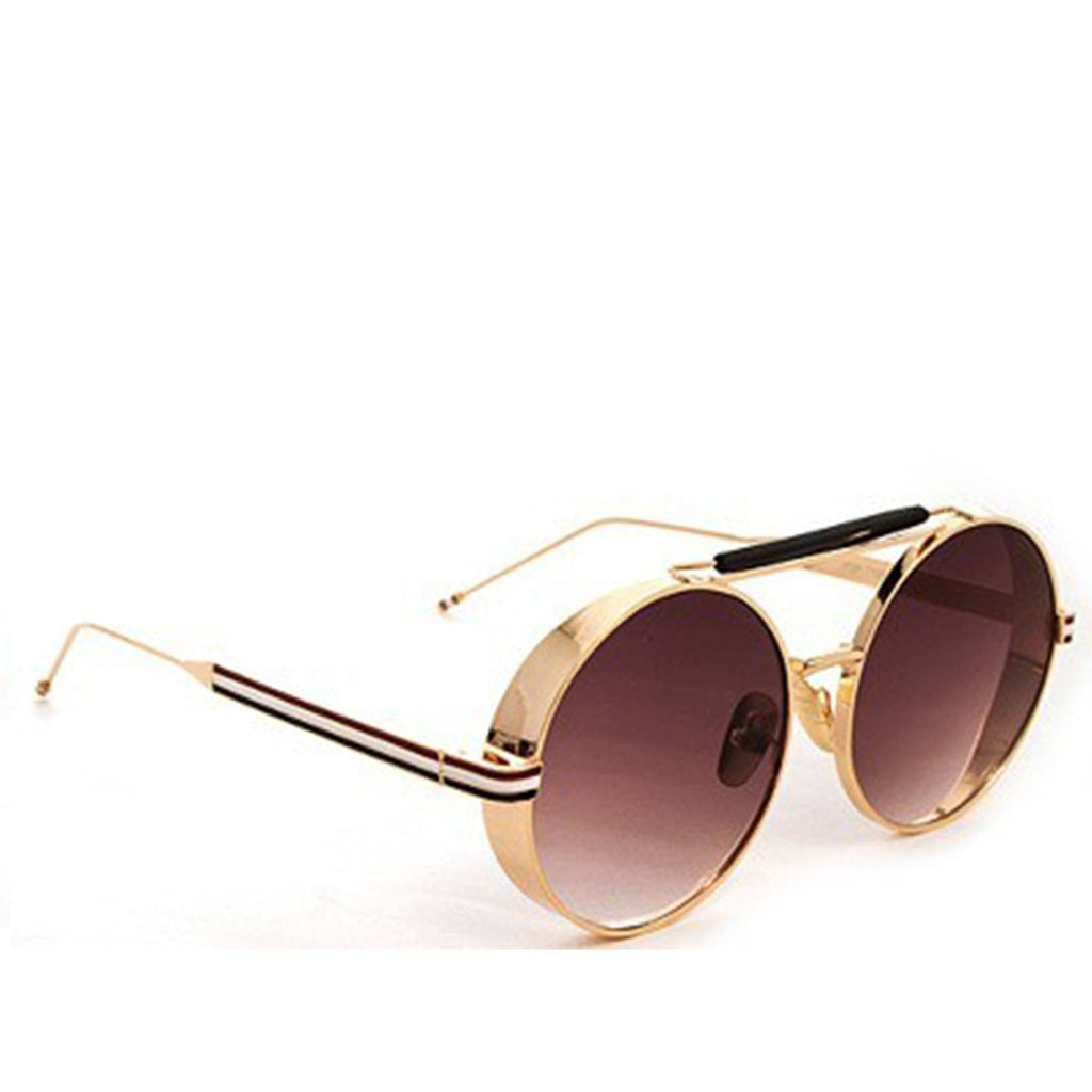 Round Metal Sunglasses- Gold with Gray - newdwear