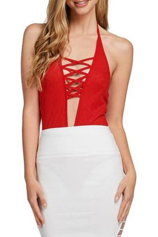 Lace Up Bodysuit- Red