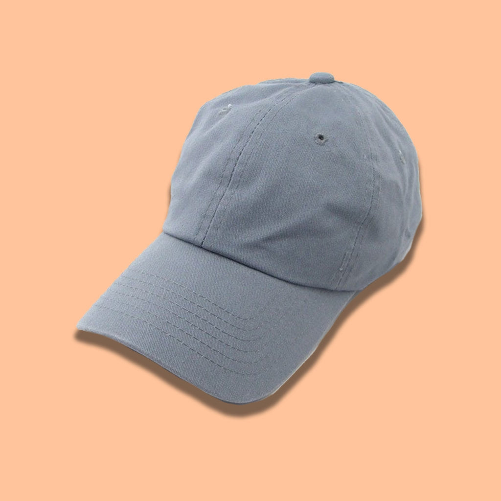 Cotton Solid Baseball Cap- Gray - newdwear