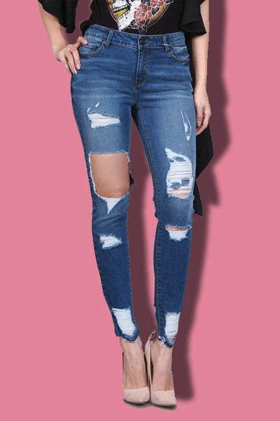 Destroyed Raw Hem Skinny Jeans - newdwear