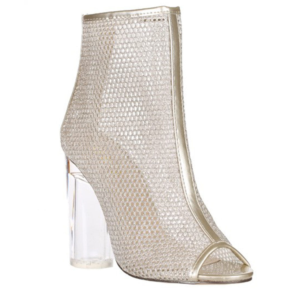 Clear Heel Mesh Boot- Light Gold - newdwear