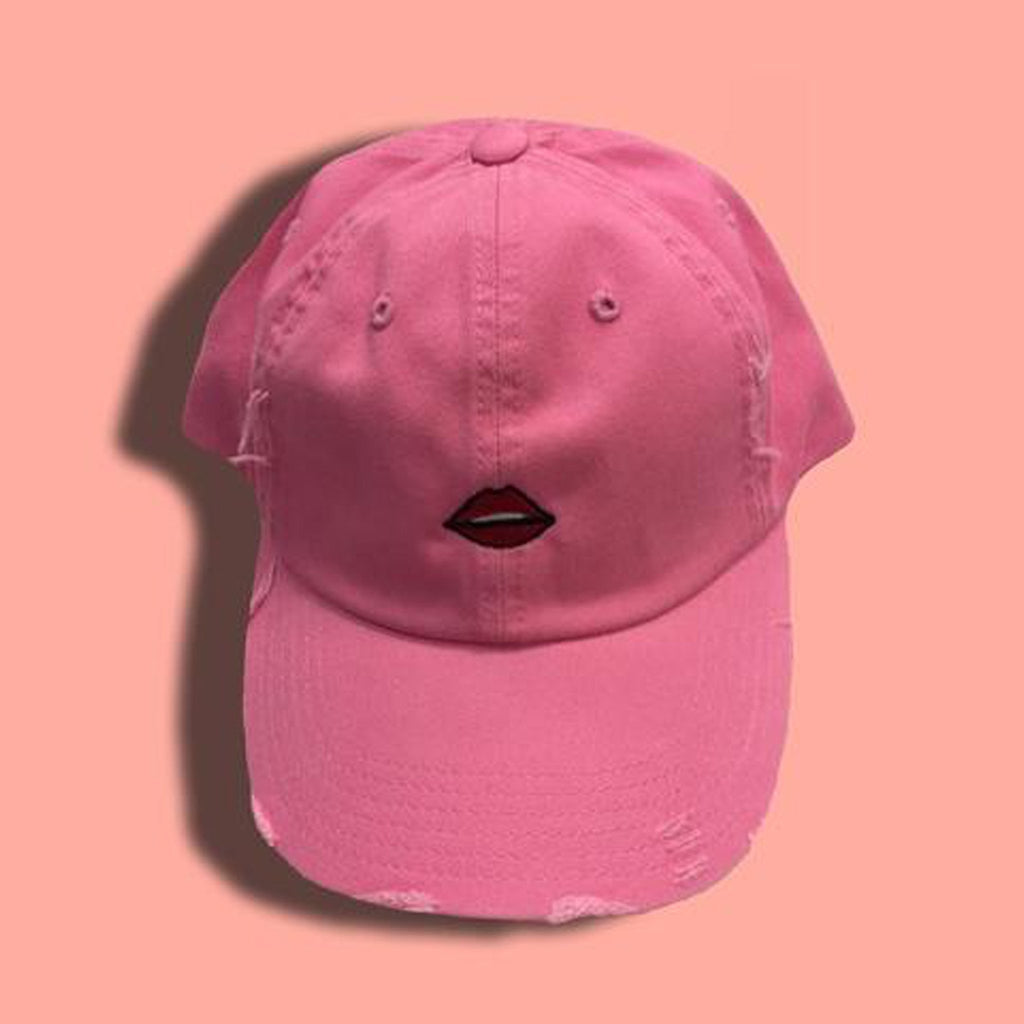 Distressed Lip Emoji Cap - newdwear