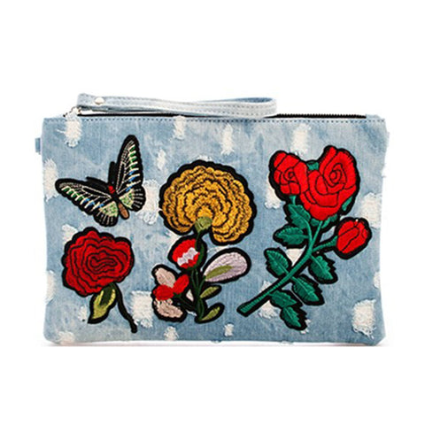 Denim Embroidered Clutch with Chain- Light Blue