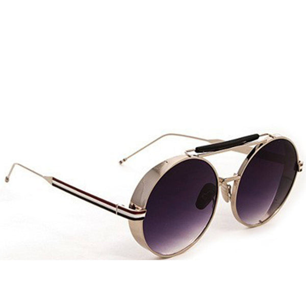 Round Metal Sunglasses- Black with Silver Frame - newdwear