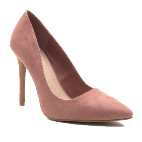 Suede Pointy-Toe Pump- Mauve