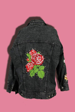 Studded Embroidered Floral Denim Jacket