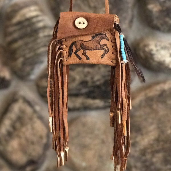 Medicine Bag--Brown Deerskin Bag with Antler Button