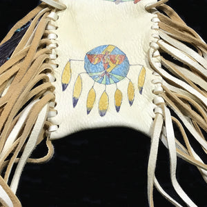 Medicine Bag--Deerskin Bag with Warrior and Red Coral Dangle
