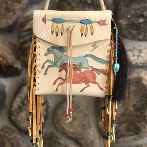 Medicine Bag--Elk Occasional Bag with horses and lance