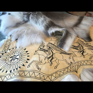 Hide Painting-Caribou Hide with Warriors