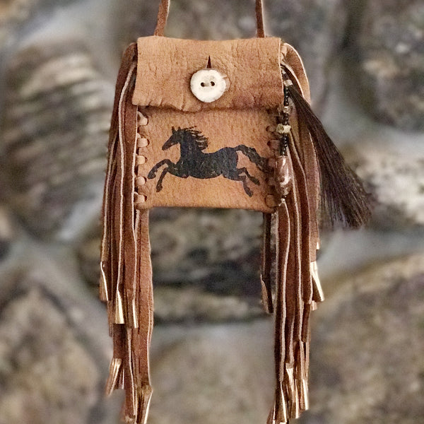 Medicine Bag--Jasper stone and Brown Deerskin Bag with Black Horse and Antler Button