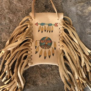 Medicine Bag--Deerskin Bag with Three Running Horses
